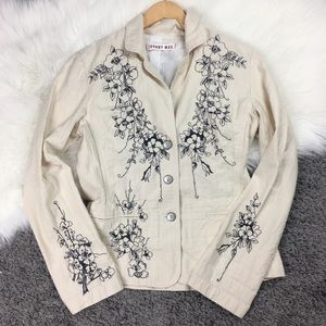 Johnny Was Ivory Embroidered Navy Floral Stitching